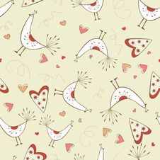 Free Seamless Pattern With Birds And Hearts Stock Image - 28839851