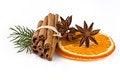Free Orange Slices And Cinnamon  On White Stock Photography - 28847692