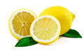 Free Fresh Lemon With Leaves On White Royalty Free Stock Photos - 28847848