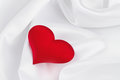 Free Red Heart On White Silk Royalty Free Stock Images - 28848489