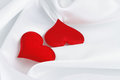 Free Two Red Hearts On White Silk Stock Photography - 28848502