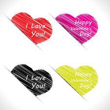 Scribble Valentine Hearts Stock Image