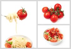 Free Set With Cherry Tomatoes And Spaghetti Royalty Free Stock Photos - 28845178