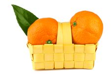 Tangerine In Basket  On White Royalty Free Stock Photography
