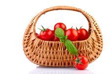 Free Fresh Tomatoes In Basket  On White Stock Photos - 28847753