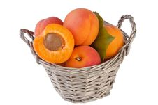 Free Apricots In Basket Isolated On White Stock Photos - 28848623