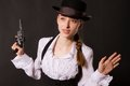 Free Portrait Of Beautiful Young Woman With A Gun. Stock Images - 28857674