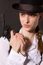 Free Portrait Of Beautiful Young Woman With A Gun. Royalty Free Stock Photography - 28857707