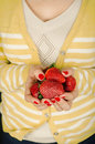 Free Woman Holding Strawberries Stock Images - 28859594