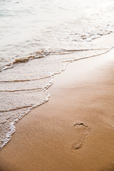 Free Beach With Footprint Stock Photography - 28851492