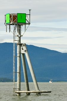 Free Alaska - Green Navigation Marker Auke Bay Stock Image - 28853151