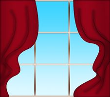 Free Red Curtains And Window Royalty Free Stock Images - 28855529