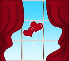 Red Curtains And Heart-shaped Baloons