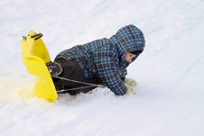 Free Little Boy On Sleigh Doing An Overturn Stock Photography - 28855962