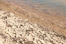 Free Contrast Concept Of Dry Cracked Mud Next To Water Royalty Free Stock Photos - 28858048