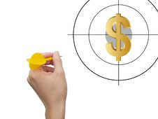 Aiming Dollar Royalty Free Stock Photos