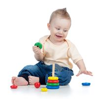 Free Happy Baby Boy Playing With Colorful Toy Royalty Free Stock Photos - 28859978