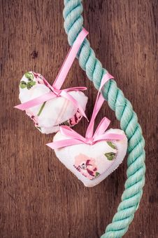Valentine Hearts Hanging On Rope On Wooden Background Stock Photos