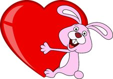 Free Rabbit Cartoon With Love Heart Stock Images - 28862634