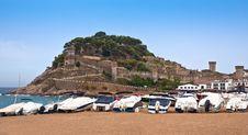 Castle View In Tossa De Mar, Spain. Royalty Free Stock Photo