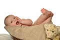 Free Baby In The Basket Scratching Gums Stock Images - 28879934