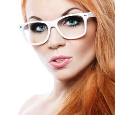 Beautiful Woman With Glasses Royalty Free Stock Photos