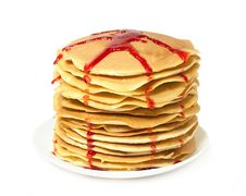 Stack Of Pancakes With Jam Stock Photo