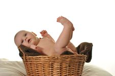 Free Cute Newly-born Baby In The Basket Royalty Free Stock Photos - 28879938