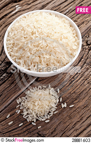 Free Uncooked Rice In A Bowl Stock Photos - 28881603