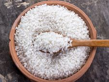Free Rice On Bowl And Wooden Spoon Royalty Free Stock Image - 28882646