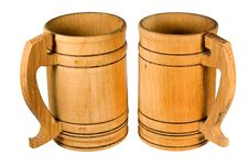 Free Wooden Mugs Royalty Free Stock Photo - 28893555