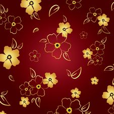 Free Gold & Red Floral Background Stock Photo - 28894270