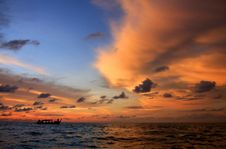 Fisherman Boat With Sunset Sky, Thailand. Royalty Free Stock Image