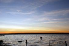Free Lake Sunset, Submerged Fence Royalty Free Stock Images - 2891539