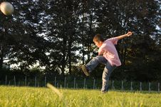 Boy Plays Soccer Royalty Free Stock Photography