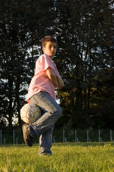 Free Boy With Soccerball Stock Image - 2894891