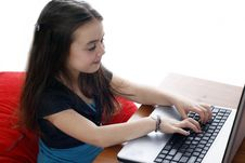 Free Young Girl Working On Laptop Royalty Free Stock Photo - 2894955