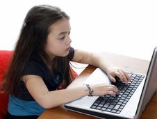 Free Young Girl Working On Laptop Stock Photos - 2894963