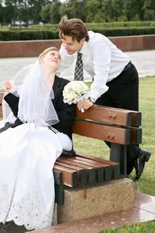 Free Bride Sits On The Bench Stock Photography - 2896022