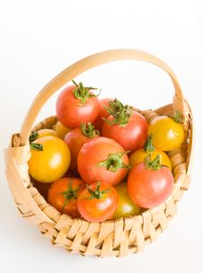 Basket With Cherry Tomatos Stock Image