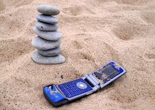 Free Telephone And Pebble Stack On Royalty Free Stock Image - 2897086