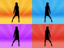 Free Girl Silhouette At Disco Stock Image - 2897661