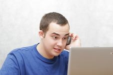 Free Student Working On His Laptop Royalty Free Stock Image - 2898986