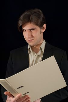 Free Young Good Looking Man Holding Folder Stock Photo - 28904140