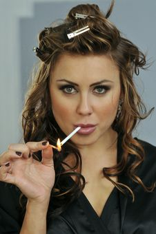 Free Portrait Of Pretty Young Smoking Woman Stock Images - 28911184