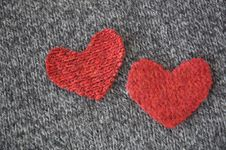 Free Two Hearts On Dark Fabric Stock Photos - 28914033