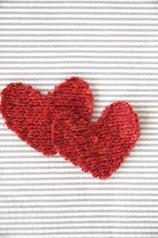 Two Hearts On Striped Royalty Free Stock Image