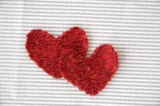 Two Red Hearts On Striped Royalty Free Stock Image