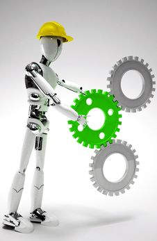 Free Robot Worker With Gears Stock Photos - 28916493