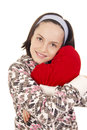 Free Beautiful Young Girl Hugging Heart Shape Pillow Stock Photo - 28923710